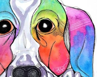Big Beagle Boy - Original Watercolor Abstract Bohemian dog boho portrait Painting
