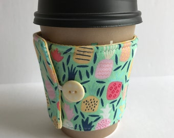 Cup Cozy - Pineapple Dream Coffee Cup Sleeve - Reusable Cup Sleeve