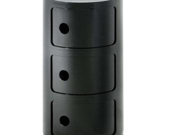 kartell Componibili storage unit, 3 modules, black