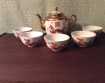 Vintage Porcelain Tea Set with Dragons- Teapot and 5 Cups