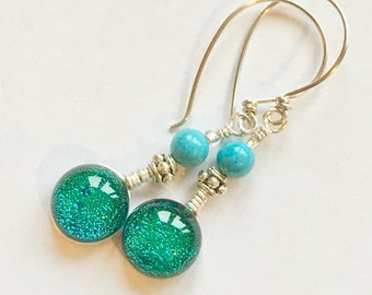 Dichroic Glass and Sterling Silver Drop Earrings - Cloigín Blue