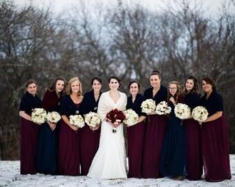 Bridal shrug/shawl/capelet/Rustic wedding/winter/fall wedding/prom shrug Navy blue