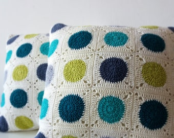 dots pillow, dots fabric, geometric pillow, dots pillow cover, crochet pillow, granny square crochet, green pillow cover, decorative pillow