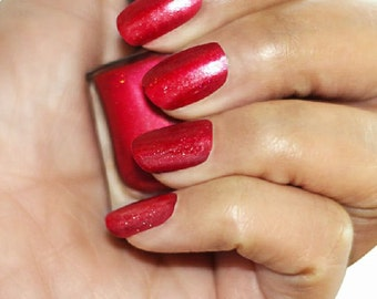 Cherry Moon Bright Red Nail Polish with Holographic Glitter