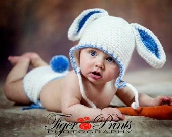 Bunny Hat and Diaper Cover, Easter Rabbit Hat and Diaper Cover in size Newborn, 0-6 months and 6 to 12 Months