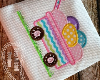 Easter Egg Wagon with grass applique embroidery design