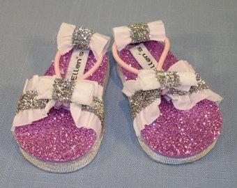18 Inch Doll Shoes - Magenta Double White Ruffle Glitter Sandals handmade by Jane Ellen