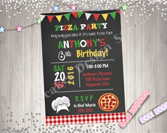 Pizza Party Invitation Pizza Invitation Pizza Chef Pizza making Party boy invitation birthday party printable diy digital