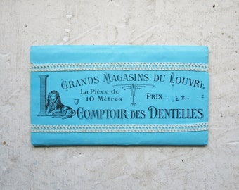 "Antique french lace never used, 1920s, LOUVRE PARIS, Crochet, Dentelle ancienne, White cotton, Wedding, 39.4"""