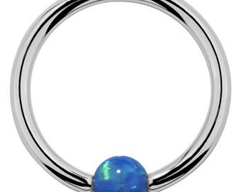 Opal 14k White Gold Captive Bead Ring - Round