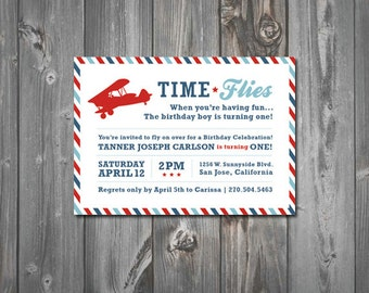 Time Flies Printable Birthday Party Invitation