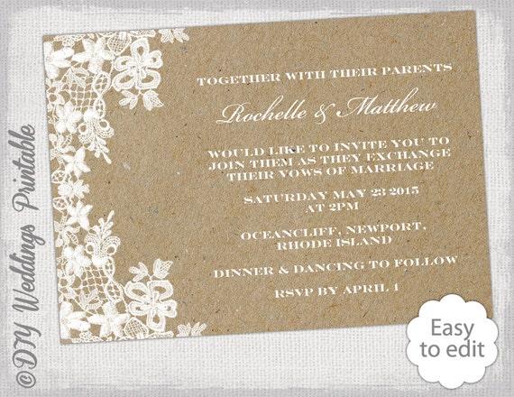 Lace Wedding Invitation Template: Kraft Wedding Invitation Template DIY Rustic Lace