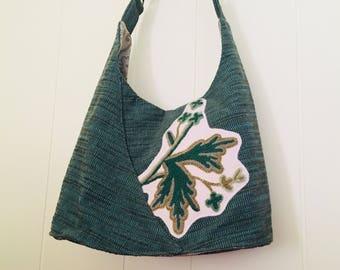 Large Green Embroidery Bag.  Adjustable strap womens handbag.  Over the shoulder.