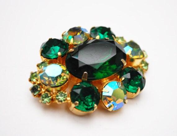 Green  Rhinestone brooch - Gold plated Setting - Aurora Borealis - Rhinestone Pin