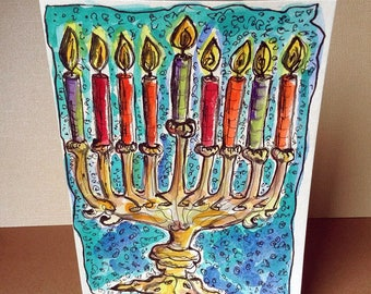 Hanukkah Menorah Card, Hand Painted Card, Original Watercolor, Happy Hanukkah, Hanukkah Painting, Judaica Artwork, Jewish Holidays, Fire Art