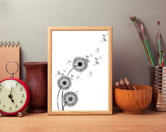 Dandelion poster. Floral Print. Dandelion Print. Dandelion Decor. Floral wall art. Scandinavian print. Minimalist design. Free shipping.