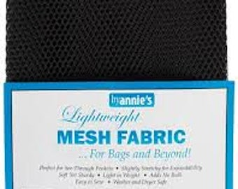 MESH FABRIC - Mesh Lite Weight Black 18in x 54in for Bags and Beyond
