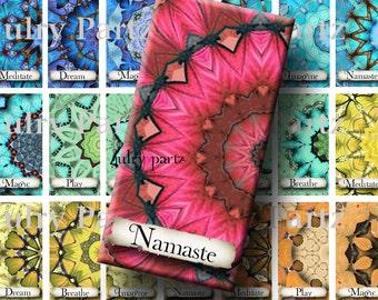 Chakra Mandalas with Affirmations 1x2,Printable Digital Image,Digital Collage,Healing Mandalas,Gift Tags,Scrabble Tiles,Yoga, Meditation