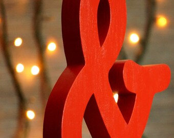 Ampersand wood letter, free standing wooden letter, shelf decor