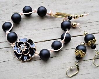 BLACK ROSE Bracelet Matte Black Beads Handtied with Black Enamel Rose Gold Accents Matching Earrings