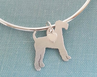 Airedale Terrier Dog Bangle Bracelet, Sterling Silver Personalize Pendant, Breed Silhouette Charm, Rescue Shelter, Birthday Gift