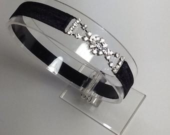 Rhinestone headband, black soft headband with clear rhinestone accent, fancy headband, formal headband,  rhinestone hair accessory