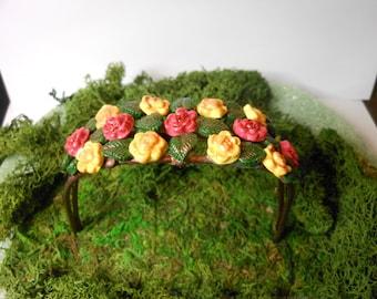 Fairy Garden Arbor/Fairy-OOAK-Polymer Clay/Copper Wire Arbor