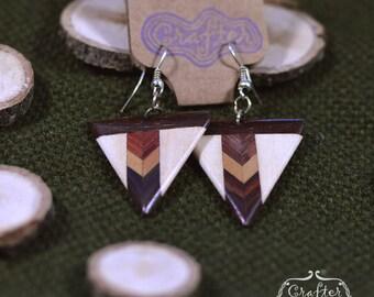 Arrow Coconut Natural Eco Earrings - Geometric Jewellery