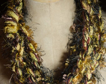 Black and Gold Infinity Scarf  126 inches circumference Fashion Accessory Earthy Scarf Warm Winter Colors