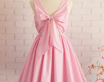Vintage prom dress pink bridesmaid dress pink party dress plaid dress tea party dress pink wedding guest dress flower girl dress