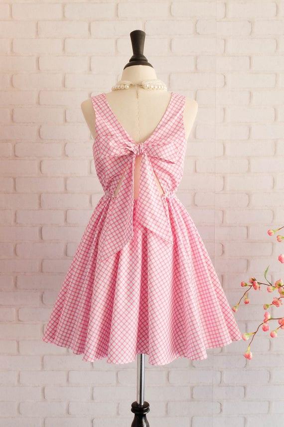 Vintage-Prom Kleid Rosa Brautjungfer Kleid Rosa Partei Kleid