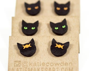 Laser Etched and Hand Painted Black Cat Studs with Gold or Green Eyes, or Gold Triple Moon