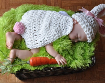 Bunny Rabbit Hat and Cape Photo Prop, Cotton Bunny Hat