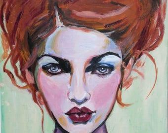 "Art Print, ""Puckering on Green"", Wall Art, Original Art, Original Painting, Portrait Painting, Prints, Figurative Art, Redhead, 12x12, 8x8"