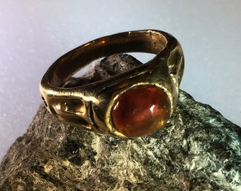 Baltic Amber and Yellow Brass Ring