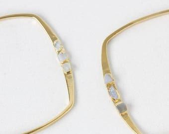 june birthstone bracelet   moonstone bangle   raw moonstone cuff bracelet   june birthstone cuff   raw gemstone bangle    gemstone cuff