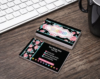 Pink and Teal Roses - Business Card -Bundles- HO Approved Compliant Branding Guide Fonts/Colors - Punch Cards - Buy 10 Reward Stamp Leggings