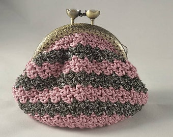 Crochet coin purse, vintage style coin pouch with metal closure, with pink and black/silver stripes