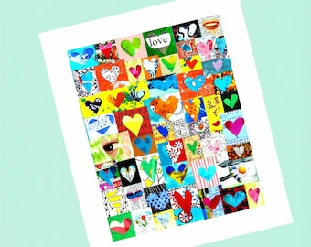 Heart Collage Card. Valentine, Anniversary, I Love You, Friendship a6 card
