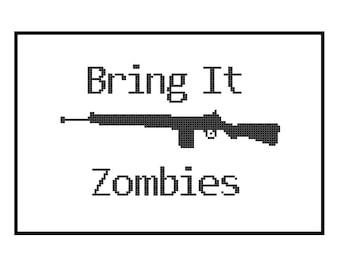 Funny Cross Stitch Pattern PDF - Bring It Zombies - Gun and Zombie Cross Stitch Pattern