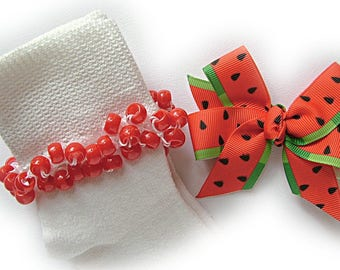 Kathy's Beaded Socks - Watermelon Socks and Hairbow, girls socks, red socks, pony bead socks, school socks, watermelon socks