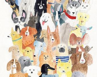 Dog print - lots of dog breed A3 print