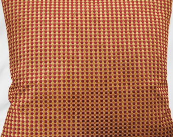 """Squares Cushion Cover Red Gold Chenille Osborne & Little Material Throw Pillow Case 16"""""""