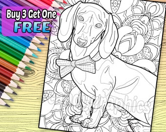 Dapper Dachshund - Adult Coloring Book Page - Printable Instant Download