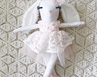 Bunny Doll - Handmade Cloth Doll, Easter Bunny Stuffed Animal