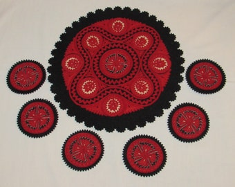 Vintage Handmade Textile UKRAINE FOLK ART Felt Coasters and Doily Black & Red