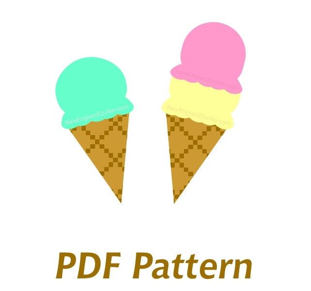 Ice Cream Cone Applique PDF Sewing Pattern Quilt Block