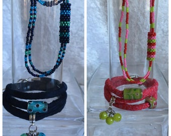 SALE! Fabric Bracelets and seed Beads Necklaces