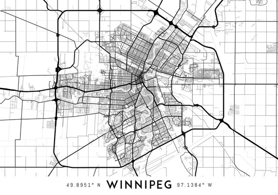 Winnipeg map print Winnipeg print Winnipeg city map