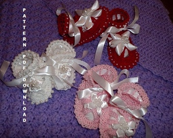 Sale 0-12 months 2 PATTERN BEADED Christening Baby shoes Booties Sandals crochet patterns